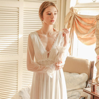 Ladies Nightgown Lace Long Nightdress Vintage Woman Lace Sleeve Summer Nightgowns Dress INS Fashion Sleepwear Fairy Diosa Divina
