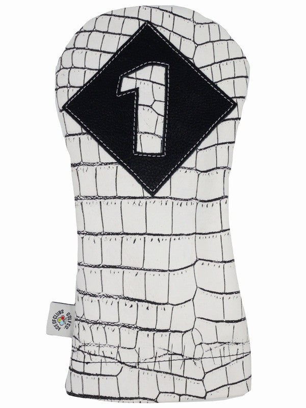 White & Black Alligator Driver Cover - Ace of Clubs Golf Company