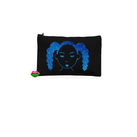 Puffy Tails Rocking-Blk Pouch-(Blue Glitter)