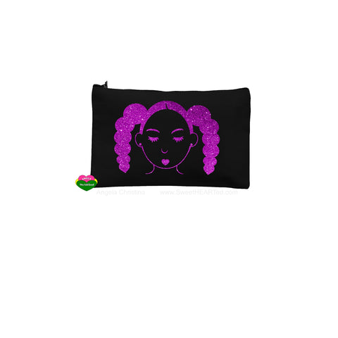 Puffy Tails Rocking-Blk Pouch-(Purple Glitter)