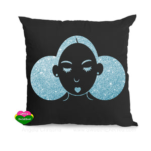 Pillow-Blk Give Me My Puffs-(Sea foam Glitter)