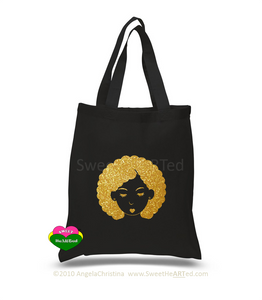 Glitter Tote-Bump This -(Gold on Blk)