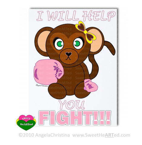 Note Card - Pink - Boxing Buddies- Monkey