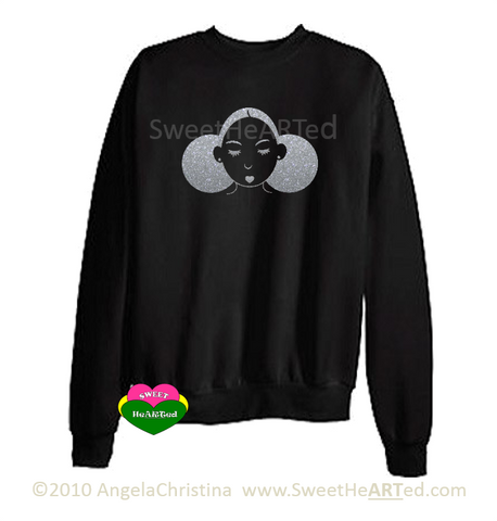 Give Me My Puffs -Sweat Shirt (Platinum Glitter on Blk)