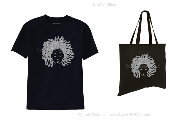 Glitter Tee & Tote Set- Locks on Shine (Platinum on Uni-Blk)