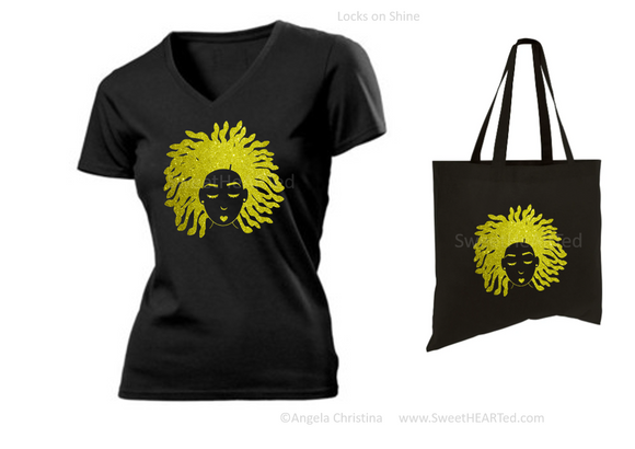 Glitter Tee & Tote Set- Locks on Shine (Gold on V-Blk)
