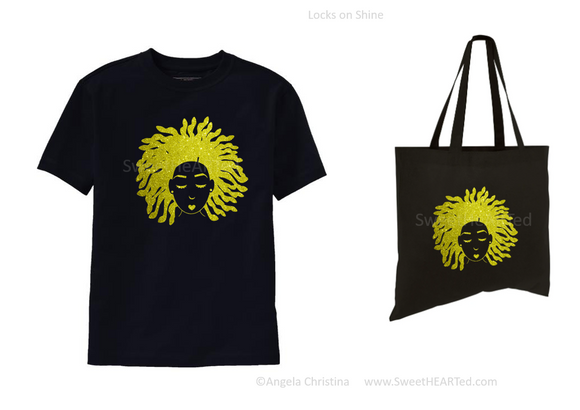 Glitter Tee & Tote Set- Locks on Shine (Gold on Uni-Blk)