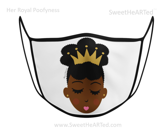 Face Covering-Her Royal Poofyness-Gold Crown