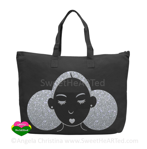 Give My My Puffs Overnight Bag-(Platinum Glitter on Blk)