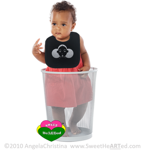 Baby Bib- Give Me My Puffs-Platinum Glitter/Black