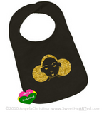 Baby Bib- Give Me My Puffs-Gold Glitter/Black