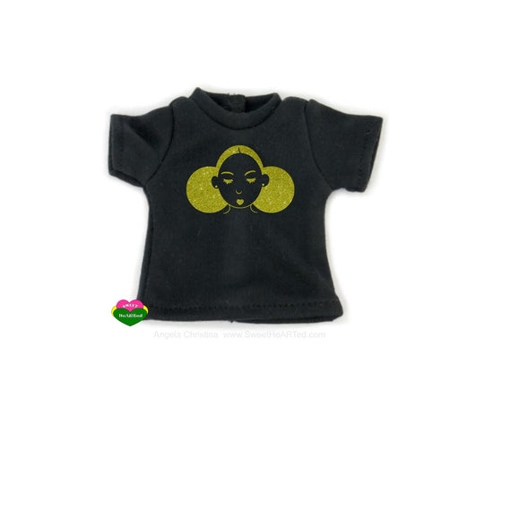 Give Me My Puffs - Blk Doll Tee (Gold Glitter)