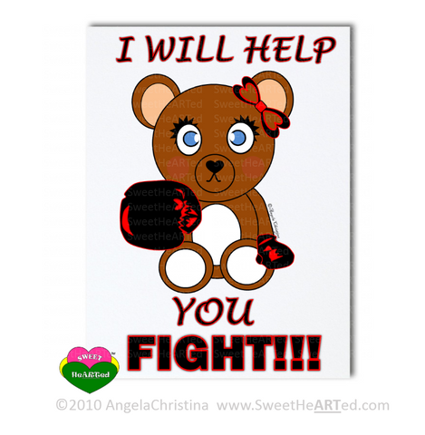 Note Cards -  Black/Red - Boxing Buddies-Bear