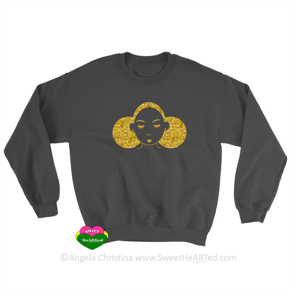 Give Me My Puffs -Sweat Shirt (Gold Glitter on Blk)