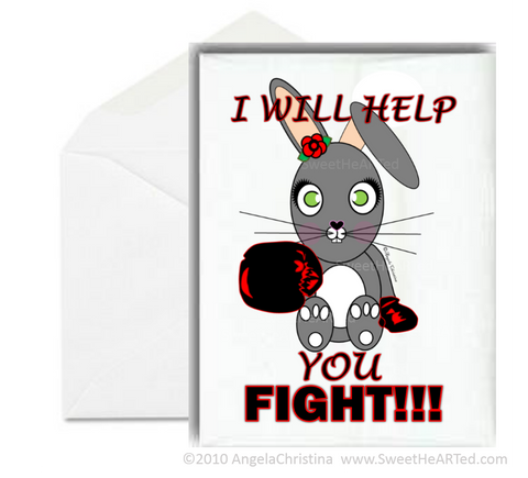 Note Cards - Bunny- Black/Red - Boxing Buddies