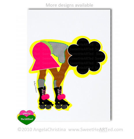 Note Card -  Skater Chick- On the Fro