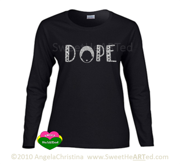 Long sleeve Tee-Dope - (Silver Glitter on Blk)