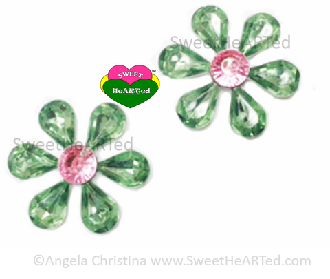 Earrings- Pink & Green Crystal earrings