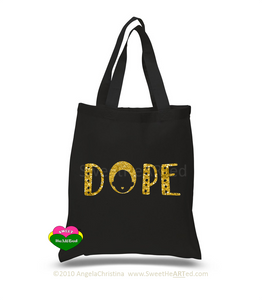 Glitter Tote-Dope (Gold on Blk)