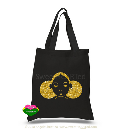 Give Me My Puffs-Tote-(Gold Glitter)