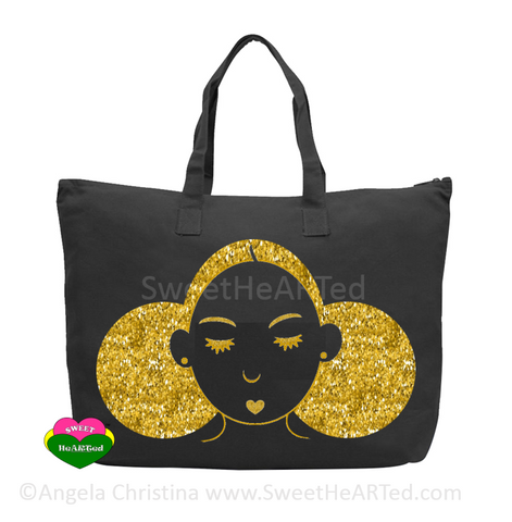 Give My My Puffs Overnight Bag-(Gold Glitter on Blk)