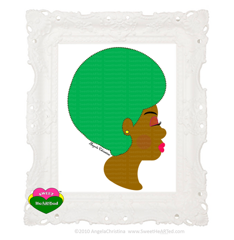 Art - Green Afro -Cotton Candy?