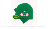 Beanie/Cap- Give Me My Puffs  (Pink on Kelly Green)