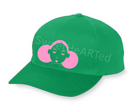 Snapback- Give Me My Puffs  (Hot Pink on Kelly Green)