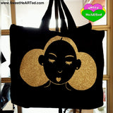 XL Bag-Give My My Puffs Overnight Bag-(Gold Glitter on Blk)