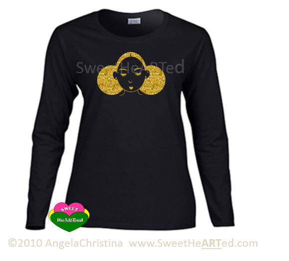 Long sleeve Tee-Give Me My Puffs - (Gold Glitter on Blk)