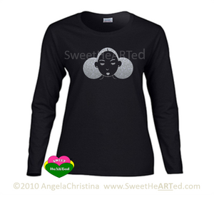 Long sleeve Tee -Give Me My Puffs -(Silver Glitter on Blk)