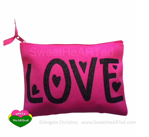 MakeUp Bag- Love  (Pink & Black)
