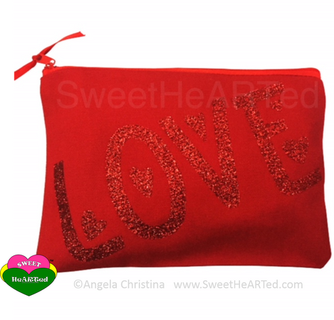 MakeUp Bag- Love  (Red)