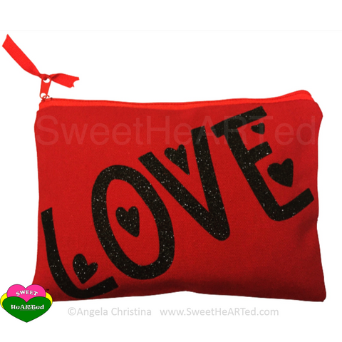 MakeUp Bag- Love  (Red & Black)