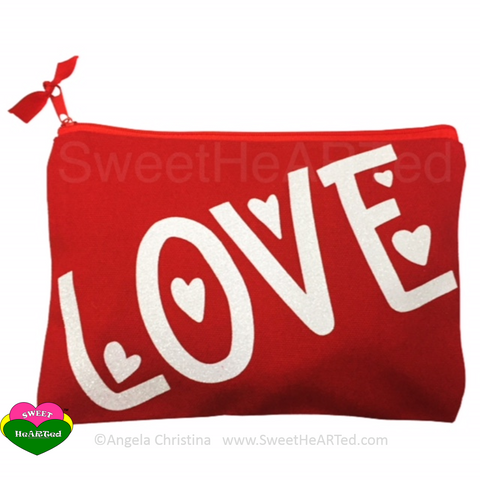 MakeUp Bag- Love  (Red & White)