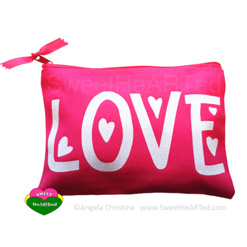 MakeUp Bag- Love  (Pink & White)
