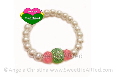 Bracelet-  Pearls Green & Pink Ice Candy