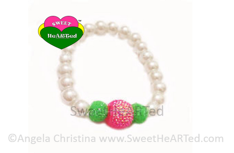 Bracelet-  Pearls Pink & Green Candy