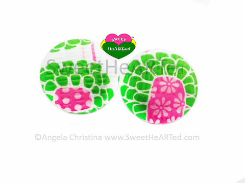 Earrings- Jumbo Pink & Green Floral Funk