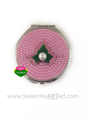 Pink Crystal Ivy Compact Mirror