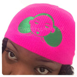 Beanie/Cap- Give Me My Puffs  (Green on Neon Pink)