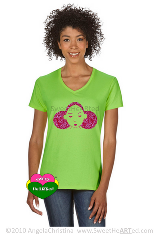 Give Me My Puffs -Tee (Hot Pink Glitter on Lime Green)