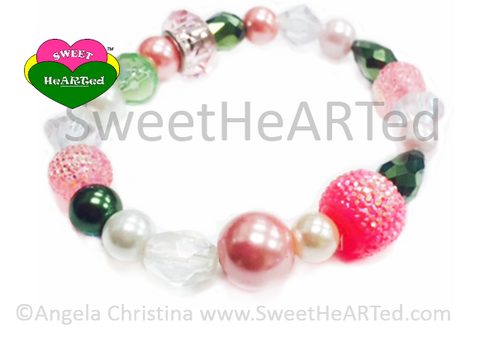 Bracelet-  Pretty Junkie -Pink & Green Pearls/Beads