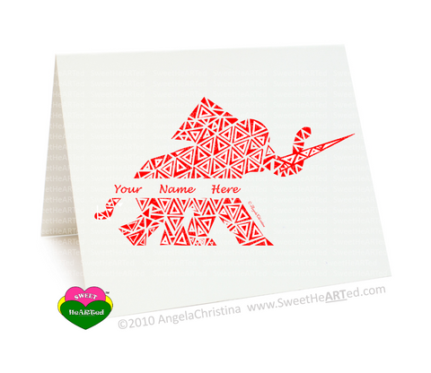 Note Cards- Personalized Red Elephant