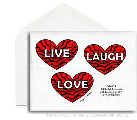 Note card- Live, Laugh, Love- Red Hearts