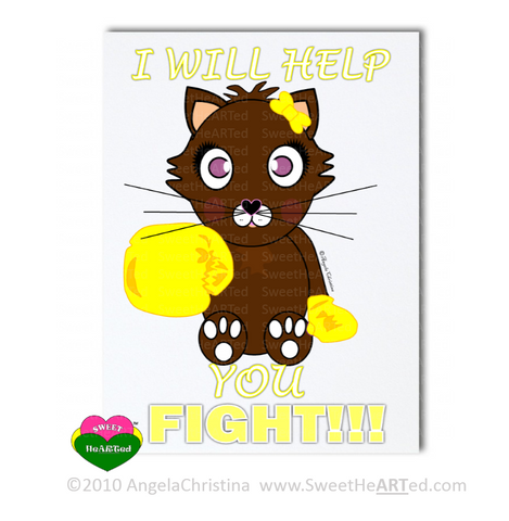 Note Cards -  Gold - Boxing Buddies-Kitty