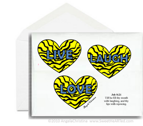Note card- Live, Laugh, Love- Yellow Hearts