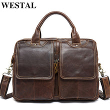 Load image into Gallery viewer, Genuine Leather Men's Shoulder Laptop Briefcase Messenger/Crossbody Bag