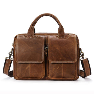 Genuine Leather Men's Shoulder Laptop Briefcase Messenger/Crossbody Bag