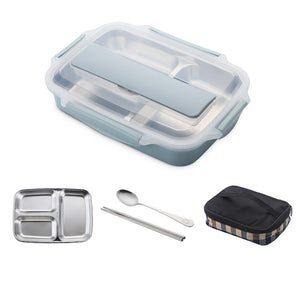 Stainless Steel  Leak-proof Lunch Box With Spoon Lunch Bento Boxes With Dinnerware Set